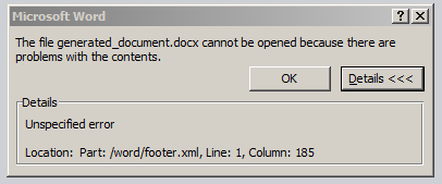 The file .docx cannot be opened because there are problems with the contents. Details: Unspecified error